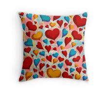 Coloured Hearts ♥ Throw Pillow