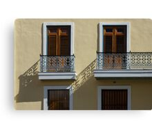 Sophisticated Wrought Iron Shadows - the Beautiful Colonial Architecture of Old San Juan Canvas Print