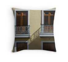 Sophisticated Wrought Iron Shadows - the Beautiful Colonial Architecture of Old San Juan Throw Pillow