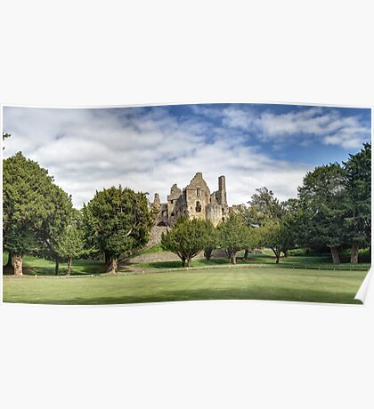 Panoramic View of Dirleton Castle from the Bowling Green Poster