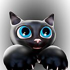 Cute Kitty Cartoon with Blue Eyes - 3D by BluedarkArt