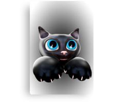 Cute Kitty Cartoon with Blue Eyes - 3D Canvas Print