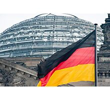 German flag and the Reichstag dome Photographic Print