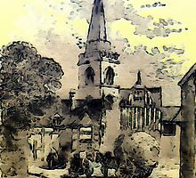 A digital painting of Much Wenlock, Shropshire, England 1882 by Dennis Melling