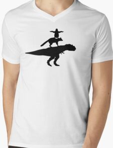 Funny animals dinosaur fox penguin pyramid Mens V-Neck T-Shirt