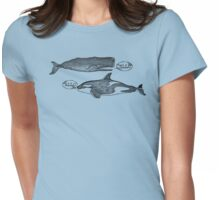 funny vintage hello killer whale sperm whale Womens Fitted T-Shirt