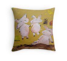 3 Little Pigs Throw Pillow