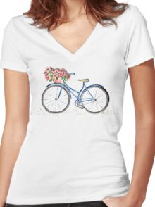 Spring time bicycle Women's Fitted V-Neck T-Shirt