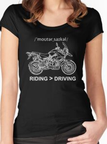 Adventure Bike Style Illustration White Ink for Dark Shirts Women's Fitted Scoop T-Shirt