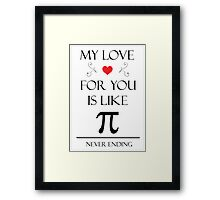 Romantic Pi Message Framed Print