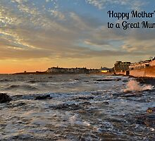 Porthcawl Sunset Mother's Day Card to a Great Mum by Paula J James