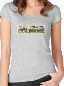 Tardis in the Bayeux tapestry t-shirt Women's Fitted Scoop T-Shirt