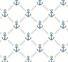 Nautical anchor pattern ocean navy sea by majuli1990