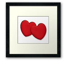 Two glossy red hearts Framed Print