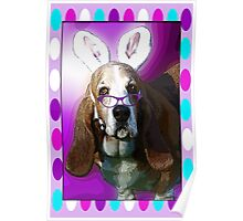 Happy Basset Hound Easter Greeting Poster