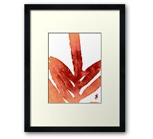 Green Fern Red Fire and White Framed Print