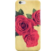vintage post card with three red roses iPhone Case/Skin