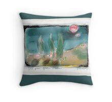 red sun green trees Throw Pillow