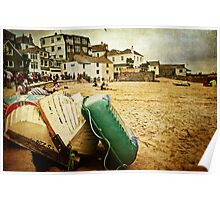 Low tide at St Ives harbour Poster