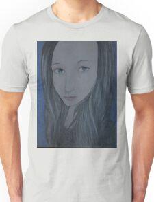 Beautiful woman in Blue Unisex T-Shirt