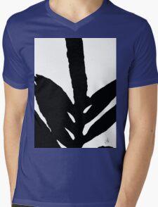 Green Fern Black and White Mens V-Neck T-Shirt