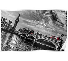 Three Red London Buses Poster