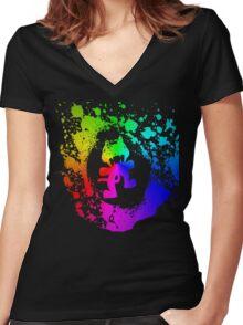 Colourful feline.  Women's Fitted V-Neck T-Shirt