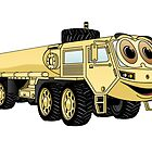 Military Tanker Truck Cartoon Sand by Graphxpro