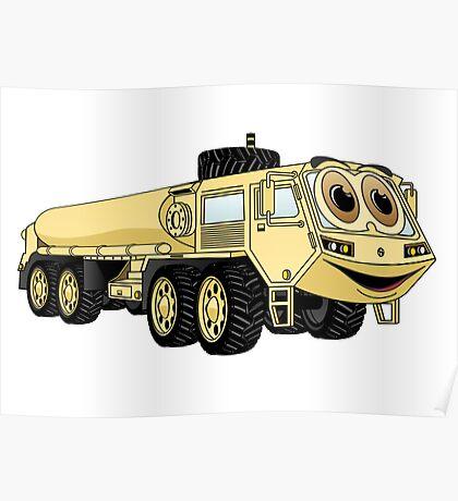 Military Tanker Truck Cartoon Sand Poster