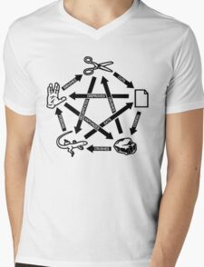 Rock Paper Scissors Lizard Spock T-Shirt Mens V-Neck T-Shirt