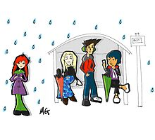 Raining at the Bus Stop Photographic Print