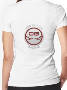 Obstinate Gaming (White Text) Women's Fitted V-Neck T-Shirt