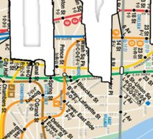 subway map down town new york city new world trade center  Sticker
