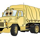Military Troop Truck Cartoon Sand by Graphxpro