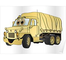 Military Troop Truck Cartoon Sand Poster