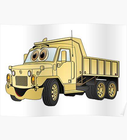 Military Dump Truck Cartoon Sand Poster