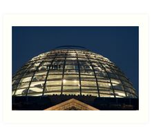 Dome of the Reichstag building at night Art Print