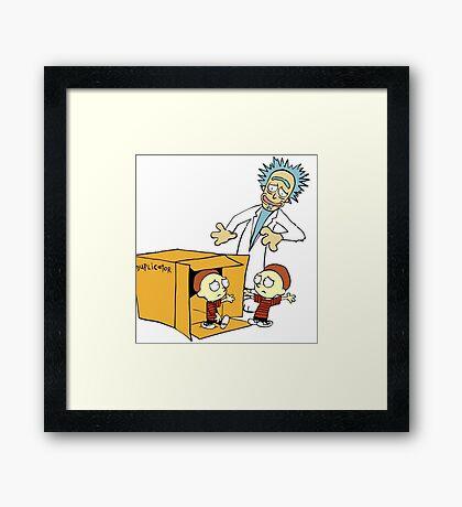 Rick and Morty Calvin and Hobbes mashup Framed Print