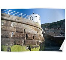 Whitby sea wall Poster