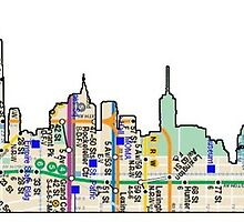 subway map new york city sky line down town statue of liberty by hookink