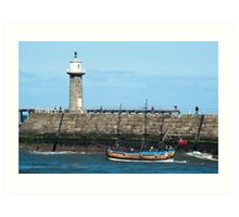 Whitby Pier and Bark Endeavour replica Art Print