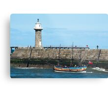 Whitby Pier and Bark Endeavour replica Metal Print