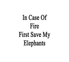 In Case Of Fire First Save My Elephants  by supernova23