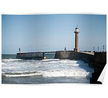 West navigation lighthouse at Whitby Poster