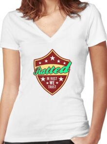 Ratted VW rat rod Women's Fitted V-Neck T-Shirt