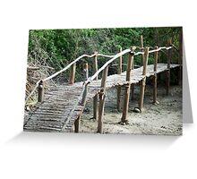 Rustic wooden pedestrian bridge Greeting Card