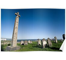 Caedmons Cross at Whitby Abbey Poster
