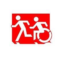 Emergency Exit Sign, with the Accessible Means of Egress Icon and Running Man, part of the Accessible Exit Sign Project by LeeWilson