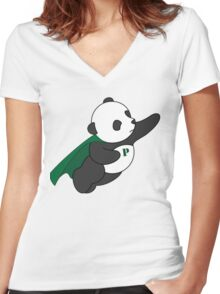 Super Panda Series - 3 Women's Fitted V-Neck T-Shirt
