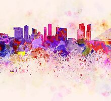 Rotterdam skyline in watercolor background by paulrommer